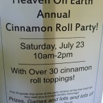Cinnamon Roll Party notice